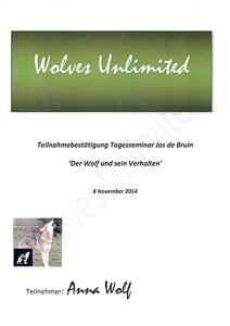 Zertifkat vom Seminar Der Wolf und sein Verhalten