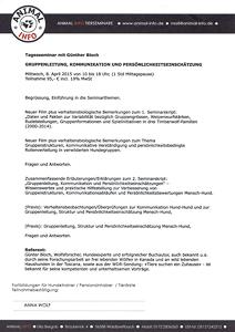 Zertifkat vom Seminar Gruppenleitung Kommunikation und Persönlichkeitseinschätzung