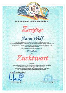 Zertifkat vom Zuchtwartseminar